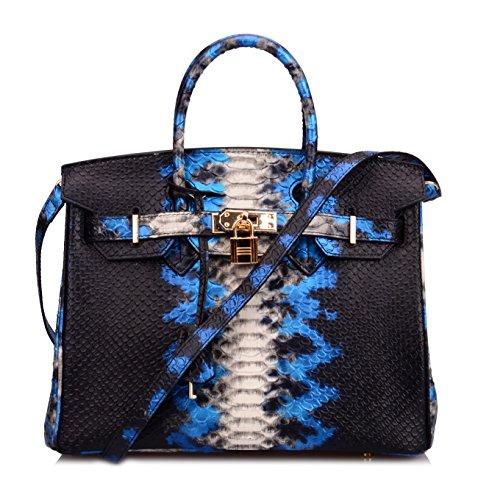 Ainifeel Women's Python Embossed Padlock Genuine Leather Shoulder Bag Hobo Bag Purse (30cm, Electric (Leather Print Hobo Bag)