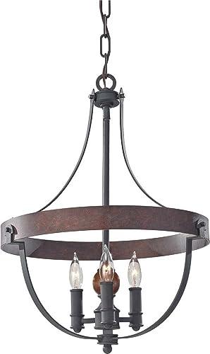 Feiss F2797 3AF CBA, Alston Mini Candle Chandelier Light, 180 Watts, Iron Brick Acorn