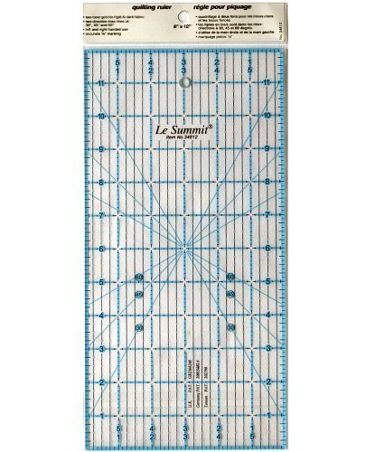 Patchwork & Quilting Ruler with Grid 6 inch x 12 inch (same size as Omnigrid) by Le Summit by Le Summit