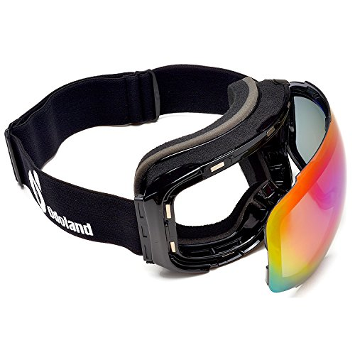 Odoland Snow Ski Goggles with Magnetic Detachable Lens - Interchangeable Lens Anti-fog Frameless Eyewear for Snowboarding, Snowmobile Winter Outdoor Sports, 100% UV400 Protection