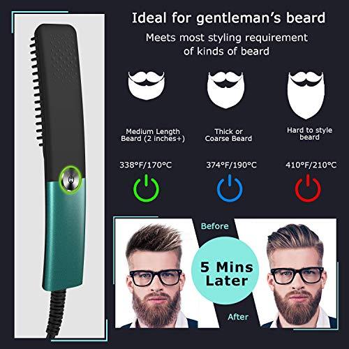 Beard Straightener,Hair Straightener Brush Electric Beard Straightening Heated Comb,Unique Styling Grooming Gifts for Men Women Him(Green)