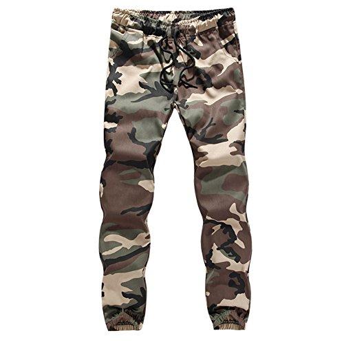 RUEWEY Men Camouflage Athletic Elastic Drawstring Waist Sweatpants Joggers Cargo Pants (2XL, Army (Camo Cargo Sweatpants)
