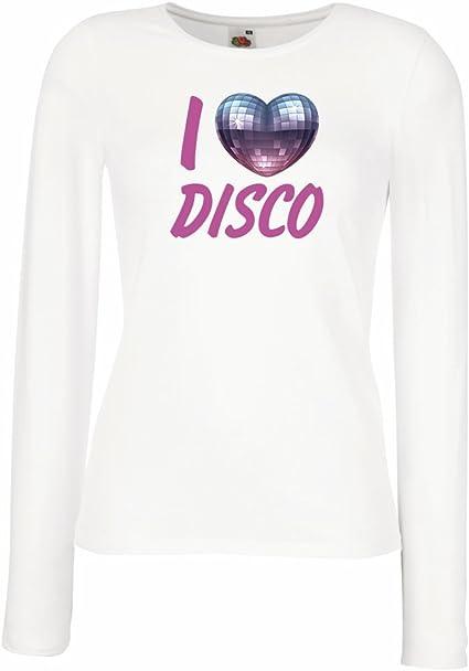 lepni.me Camisetas de Manga Larga para Mujer Amo el Disco - Ropa Retra de la música: Amazon.es: Ropa y accesorios