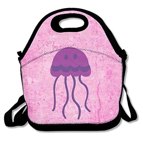 Custom Cute Jellyfish Clipart Pet Gift Reusable Ziplock Crossbody Picnic Bag Design For Office Portable Lunch Box Cooler Back To School Lunch Bag Lunch Tote Bag Box For Boys Girls