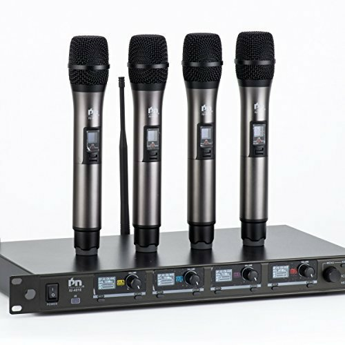 (Proslogan IU-4010 Professional UHF 4-Channel Wireless Microphone with XLR or 1/4