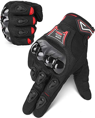 ISSYZONE Motorrad Handschuhe, Sommer Sport Handschuhe mit Touchscreen, Hartem Knöchelschutz, Atmungsaktive…