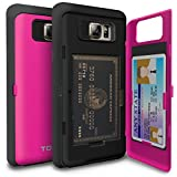 Galaxy Note 5 Case, TORU [Note 5 Wallet Case Pink] Protective Slim Fit Dual Layer Hidden Credit Card Holder ID Slot Card Case with Mirror for Samsung Galaxy Note 5 - Hot Pink
