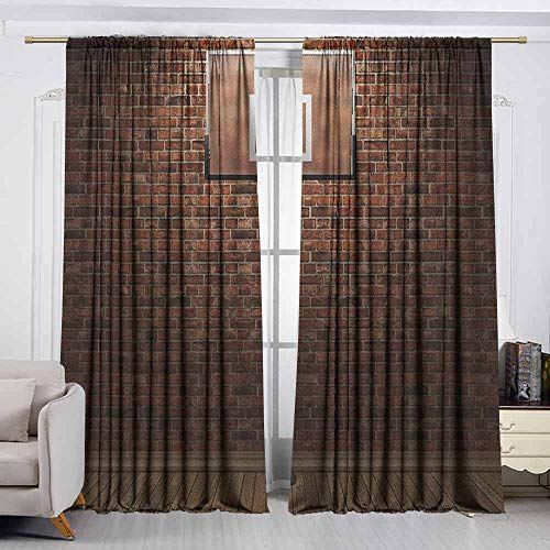 VIVIDX Rod Pocket Drapes and Curtain,Basketball,Old Brick Wall and Basketball Hoop Rim Indoor Training Exercising Stadium Picture,Great for Living Rooms & Bedrooms,W72x72L Inches Brown