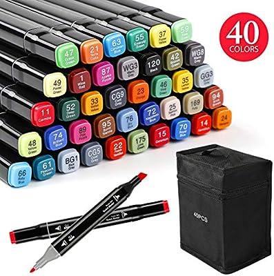 Zekkai Marker Pen Colores Rotuladores Graffiti 40 Colores Rotuladores de Doble Punta, Ideal para Niños, Adultos, Artistas, Buen Regalo para Navidad, Año Nuevo, Fiesta: Amazon.es: Hogar