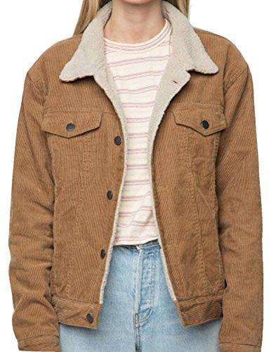 Single Breasted Camel (HAOYIHUI Womens Casual Solid Long Sleeve Single Breasted Faux Fur Collar Jacket(XL,Camel))