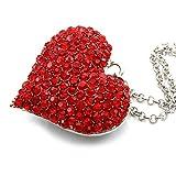 Big Love Red Heart Valentine's Day Pendant Necklace Charm Rhinestones Ladies Women Fashion Jewelry