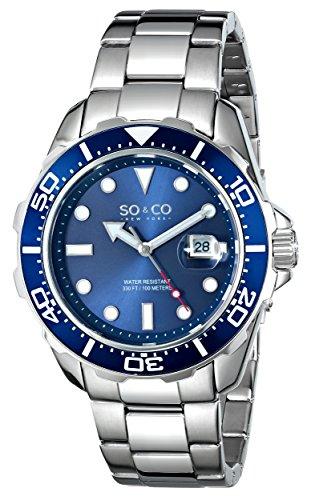 SO&CO New York Men's 5042.2 Yacht Club Quartz Unidirectional Blue Bezel Date Stainless Steel Link Bracelet Watch