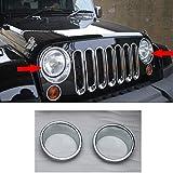 Liquor Car New For Jeep Wrangler 2007-2015 2008 2009 2010 2011 2012 2013 2014 2 Pieces Chrome Color Bezels Front Head Light Headlight Covers Ring Molding Trim
