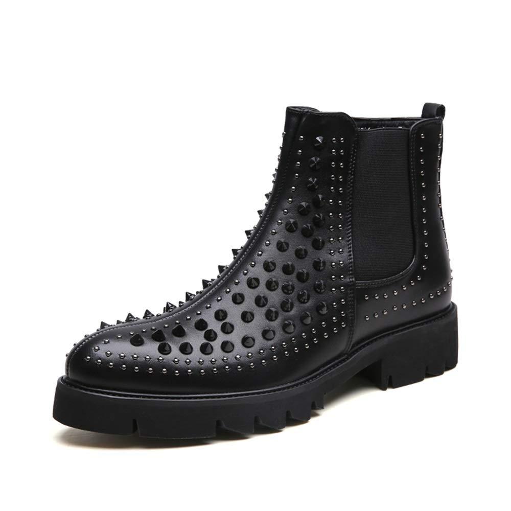 Ruiyue Mode-Ankle Stiefel, beiläufige Persönlichkeitsniet-nähende Reißverschluss-hohe Spitzenaufladung für Männer (Farbe   Schwarz, Größe   39 EU)