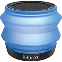 iHome iBT620 Portable Collapsible Bluetooth Light-up Speaker with Speakerphone - Featuring Melody, Voice Powered Music Assistant - Blue/Grey