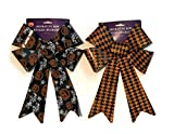 GBI Large Halloween Fall Autumn Decorative Glittery Plastic Bows (Orange Black)