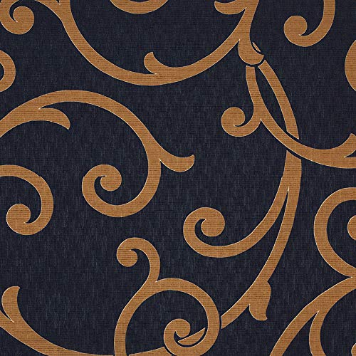Night Black Gold Lattice Fretwork Contemporary Modern Wide Width Prints Upholstery Fabric by The ()