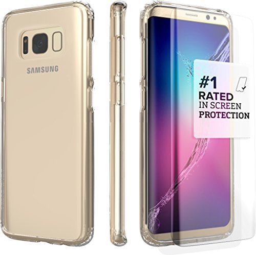 Galaxy S8 Case SaharaCase Protective Kit Bundle with (Curved Tempered Glass Screen Protector) [Hard PC Back] Slim Fit Anti-Slip Grip - Crystal Clear