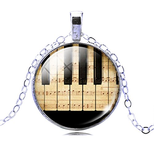 Unique Design Piano Keyboard Sweet Musical Dangle Pendant Long Bronze Chain Necklace for Women (Piano Pendant)