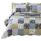 Bedsure 3-Piece Quilt Set Coverlet Queen/Full Size (90x96 inches), Luxury Vintage Plaid Floral Patchwork, Lightweight Bedroom Bedspread for All Season, 1 Quilt and 2 Pillow Shams