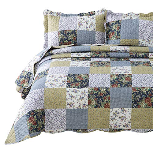 Bedsure 3-Piece Quilt Set Coverlet King Size (106x96 inches), Luxury Vintage Plaid Floral Patchwork, Lightweight Bedroom Bedspread for All Season, 1 Quilt and 2 Pillow Shams