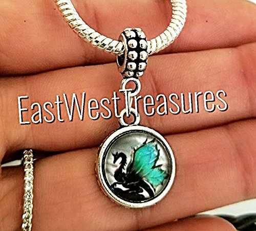 EWT dragon Glass, mother of dragons wings Jewelry Charm Pendant for fit all brand & designer charm bracelets and any chain (Dragon Glass Bracelet)
