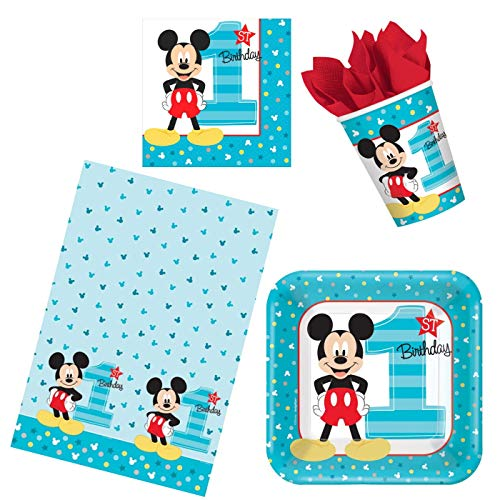 ParteePak Mickeys First Birthday Party Bundle 50 Pieces | 1st Birthday Party Supplies Pack for 16 Guests | Includes Disposable Plates, Napkins, Cups, Table Cover and Party Planning eBook (Basic