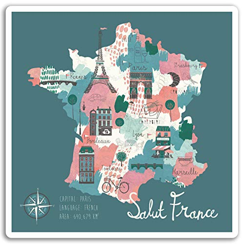 2 x 10cm France Map Vinyl Stickers - Paris Travel Sticker Laptop Luggage #17241 (10cm Wide) (Luggage France)