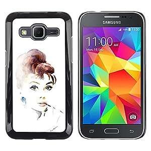 Be Good Phone Accessory // Dura Cáscara cubierta Protectora Caso Carcasa Funda de Protección para Samsung Galaxy Core Prime SM-G360 // Movie Star Vintage Retro Actress