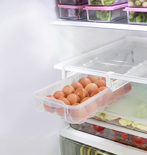 Smart Design Refrigerator Pull Out Bin & Home Organizer w/Extendable Rails & Handle - BPA Free - for Fridges & Freezers Food Storage - Kitchen (Egg ()