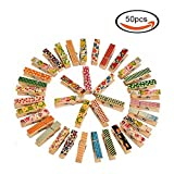50 Pcs Painted Wooden Photo Clips,Clothespin Home Bedroom Wall Decoration Data Files Activities Promotional Folders
