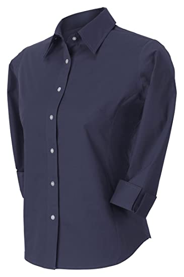 2b5c4b9f Image Unavailable. Image not available for. Color: Devon & Jones Pink  Women's 3/4 Sleeve Stretch Poplin Blouse Button Down Dress Shirt