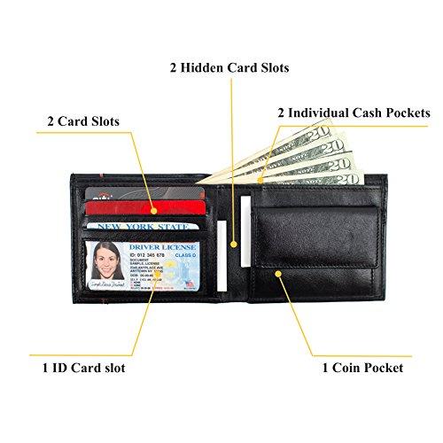 (Men Black Bifold Leather Wallet|Card slot|2 Bill pocket|In Gift)