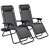 Devoko Patio Zero Gravity Chair Outdoor Adjustable Folding Lounge Chairs Pool Side Using Reclining Lawn Chair with Pillow and Tray Holder Set of 2 (Black)