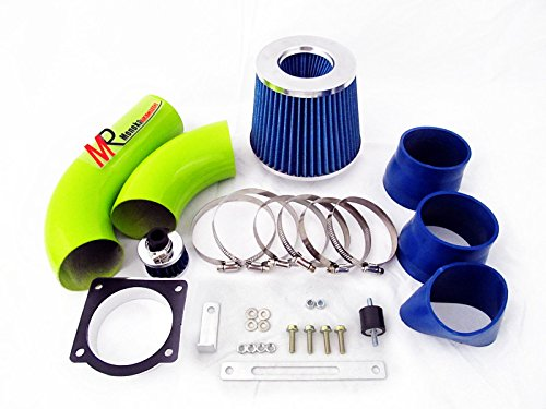 01 02 03 Ford Explorer/Ranger/Sport Trac 4.0L V6 SOHC Green Piping Cold Air Intake System Kit with Blue Filter