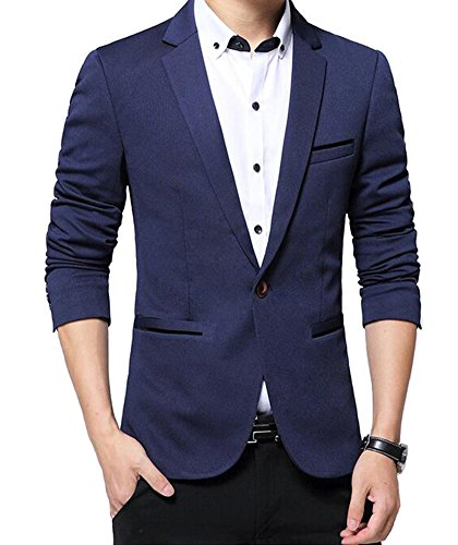 Benibos Men's Slim Fit Casual Premium Blazer Jacket(S, Navy)