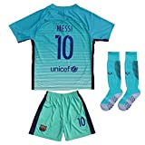2016/2017 BARCELONA #10 LIONEL MESSI THIRD GREEN SOCCER JERSEY & SHORTS YOUTH SIZES