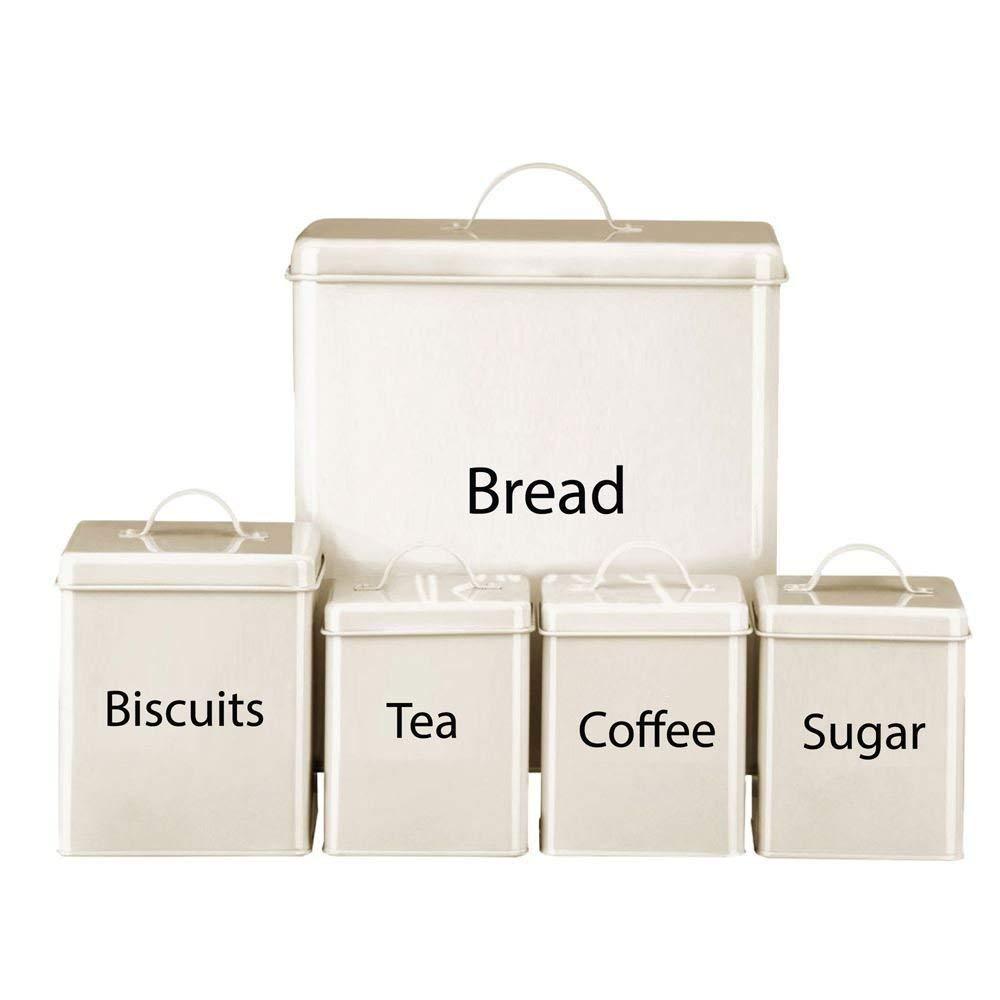 5PC CREAM TEA COFFEE SUGAR BISCUIT BREAD BIN CANISTER SET KITCHEN by Harewood