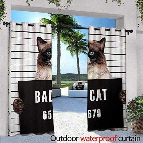 - Cat Balcony Curtains W72 x L108 Bad Gang Cat in Jail Kitty Under Arrest Criminal Prisoner Hangover Artsy Work Outdoor Patio Curtains Waterproof with Grommets Brown Black White