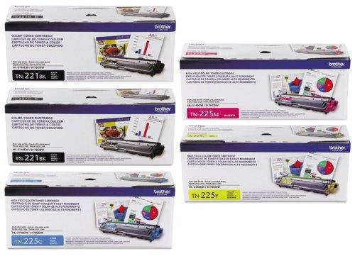 Genuine Brother TN221BK, TN225C, TN225M, TN225Y Color (2xBK/C/M/Y) Toner Cartridge 5-Pack Brother HL-3140CW, HL-3170CDW, MFC-9130CW, MFC-9330CDW, Office Central