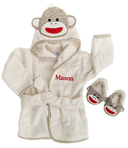 Baby Bath Slippers (PERSONALIZED Monogrammed Sock Monkey Terry Hooded Bath Robe & Slipper Set Sz 0-9 Mo)
