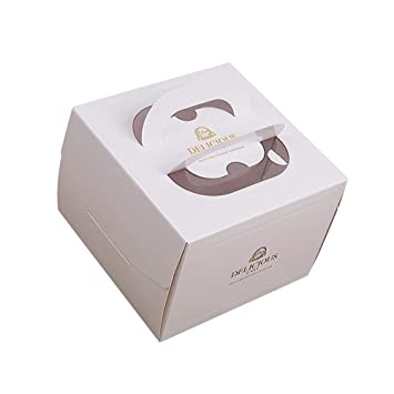 Lvcky 2pcs Mango Cajas de Papel para Cupcakes Cup Cake pastelería Comida con Ventana Caja Bandeja Set de Regalo 13 Pulgadas(Blanco ): Amazon.es: Hogar