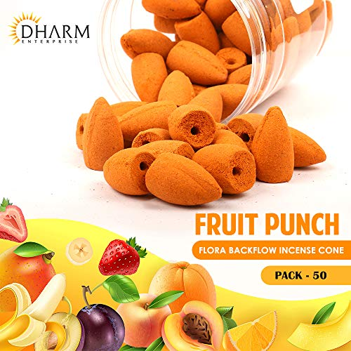 DHARM TRADES. Backflow Incense Cone(1 Inch) Pack of 50 (Natural Orange) with Fruit Punch Fragrance.