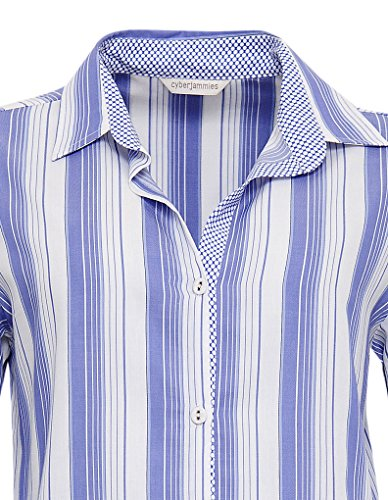 Cyberjammies 3217 Women's Vienna Blue Stripe Pajama Sleepwear PJs Pyjama Top