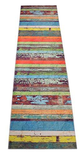 Nature Inspired Printed Runner Rug Slip Resistant TPR Rubber Back Exotic Patterns (Wood Multi Color, 1'11 x 6'11) - Multi Color Pattern