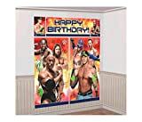 Mozlly Multipack - Amscan WWE Party Scene Setter Wall Decorating Kit - Includes Banners and Cuouts - The Rock, John Cena, Rey Mysterio - Novelty Character Party Decor (5pc Set) (Pack of 3)