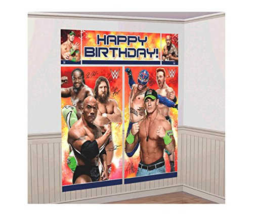 Mozlly Multipack - Amscan WWE Party Scene Setter Wall Decorating Kit - Includes Banners and Cuouts - The Rock, John Cena, Rey Mysterio - Novelty Character Party Decor (5pc Set) (Pack of 3) by Mozlly