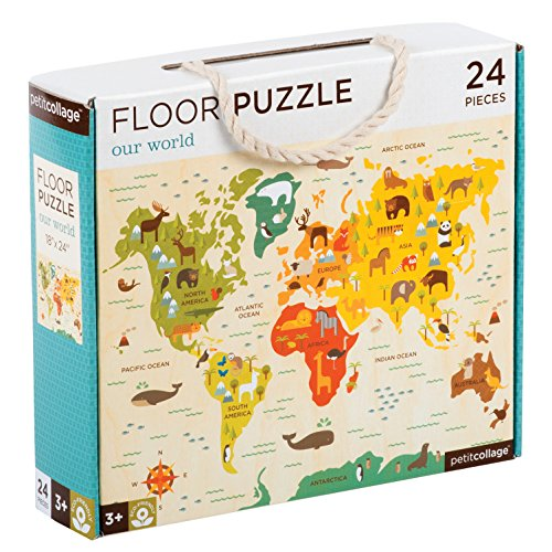 Petit Collage Floor Puzzle, Our World, 24 Pieces (Map Giant Puzzle Floor)