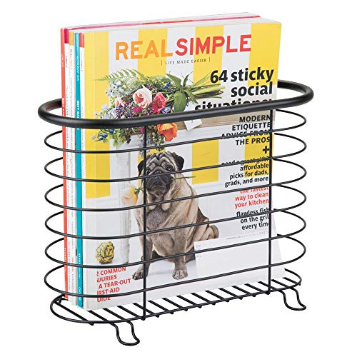 (mDesign Newspaper and Magazine Rack for Bathroom, Office, Entryway - Matte Black)