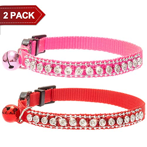 PUPTECK 2 Pcs Cat Collar with Bell - Breakaway & Adjustable - Bling Diamante Charm - Red & Pink